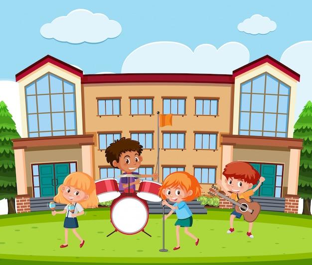 Groupe de musique étudiant à l'école Vecteur Premium