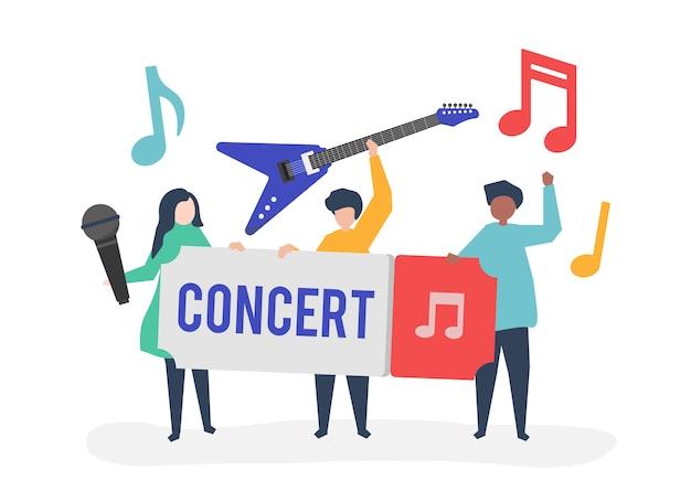 Un groupe de musique live Vecteur gratuit