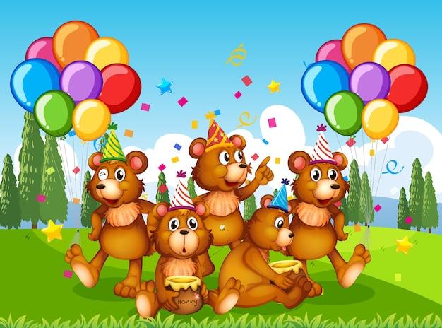 Groupe D'ours Polaires En Personnage De Dessin Animé De Thème De Fête Sur Fond De Forêt Vecteur gratuit