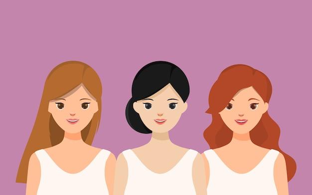 Groupe de personnage de portrait de belles femmes. Vecteur Premium