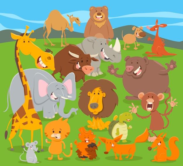 Groupe de personnages animaux mignons Vecteur Premium