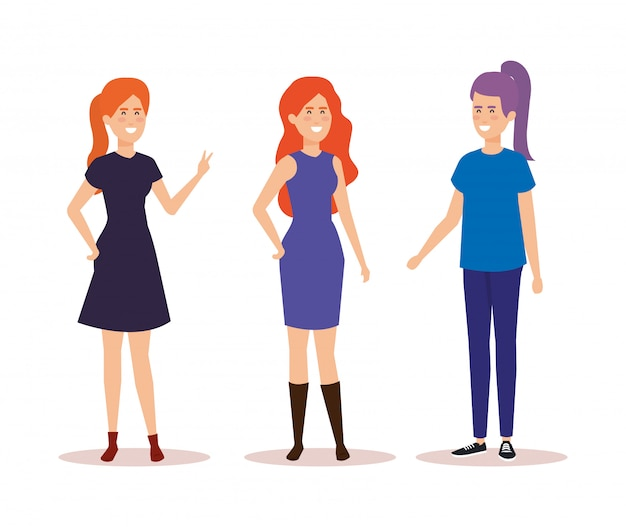 Groupe de personnages d'avatars de filles Vecteur gratuit