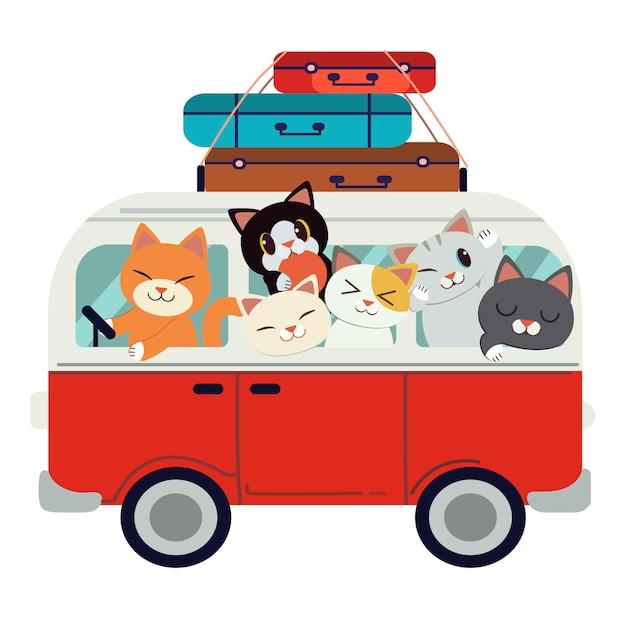 Le groupe de personnages chat mignon conduisant une fourgonnette rouge pour partir en voyage. Vecteur Premium
