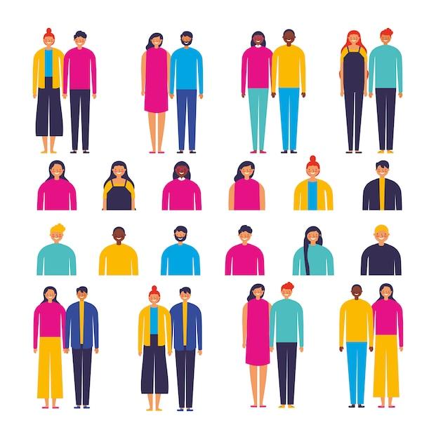 Groupe de personnages de couples divers Vecteur gratuit