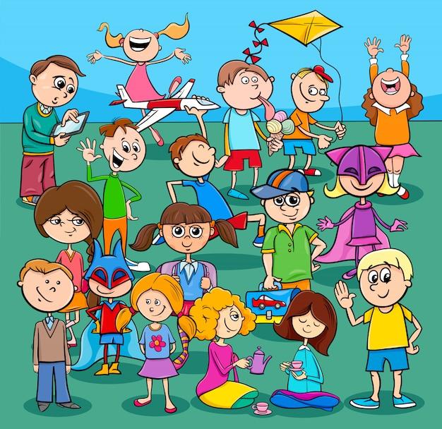 Groupe de personnages de dessins animés pour enfants et adolescents Vecteur Premium