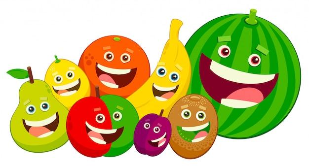 Fruit Dessin groupe de personnages de fruits de dessin animé | télécharger des