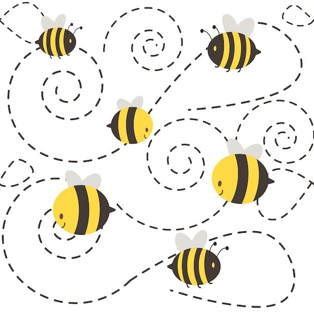 Un groupe de personnages mignons qui volent. la forme en pointillé ressemble à une spirale. Vecteur Premium