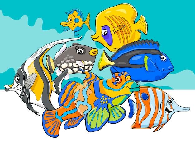 Groupe de personnages de poissons tropicaux Vecteur Premium