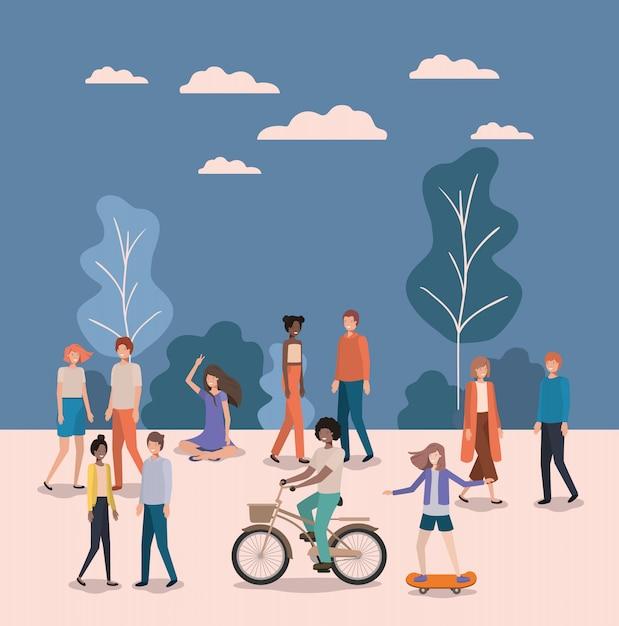 Groupe de personne faisant des activités dans le parc Vecteur Premium