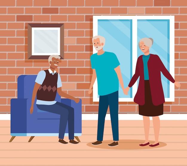 Groupe de personnes âgées scène de maison d'intérieur Vecteur gratuit