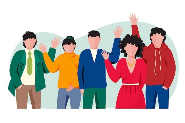Groupe de personnes agitant la main Vecteur gratuit