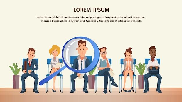 Groupe de personnes assis dans la file d'attente Vecteur Premium