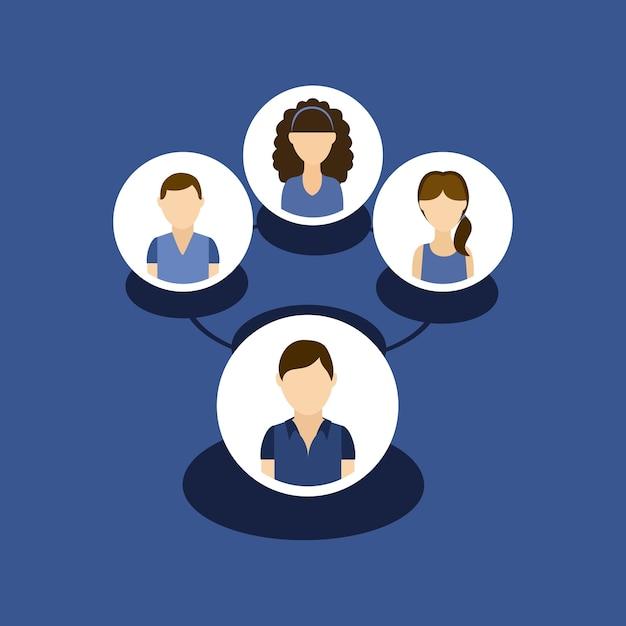 Groupe de personnes avatars Vecteur Premium