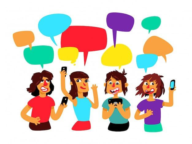 Un groupe de personnes avec des bulles de bandes dessinées discutent. vecteur. Vecteur Premium