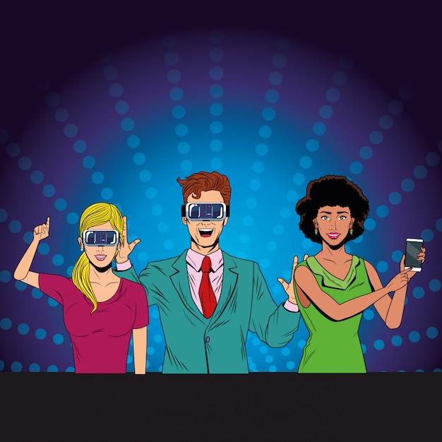 Groupe de personnes avec casque de réalité virtuelle Vecteur Premium