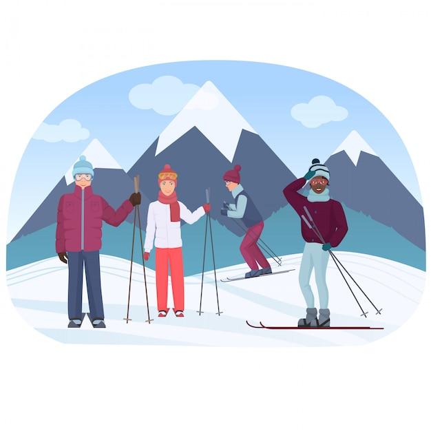 Un groupe de personnes chevauchant un ciel dans les montagnes vector illustration. les gens de ski. Vecteur Premium