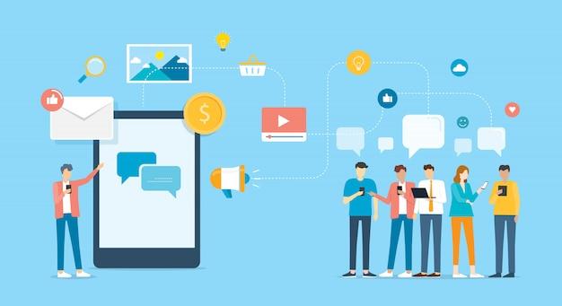 Groupe De Personnes Communiquez Et Entrez En Contact Avec Les Entreprises Via Une Application Mobile Et Un Concept De Réseau Social Vecteur Premium