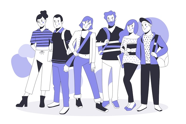 Groupe De Personnes Dans Un Style Plat Vecteur gratuit