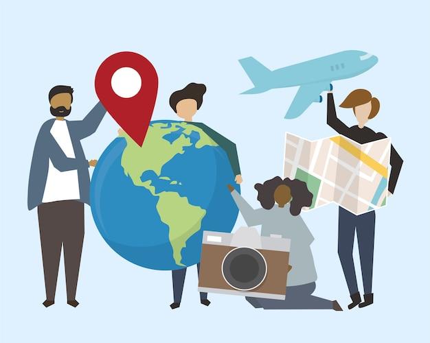 Un groupe de personnes avec illustration d'icônes de voyage Vecteur gratuit
