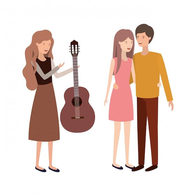 Groupe de personnes avec instrument de musique Vecteur Premium