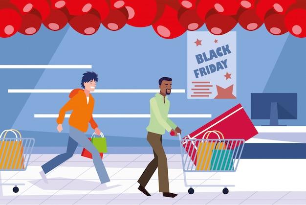 Groupe de personnes en jour noir vendredi Vecteur Premium
