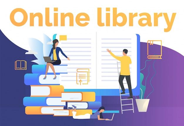 Groupe de personnes lisant une page web de livres électroniques Vecteur gratuit