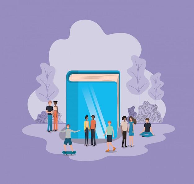 Groupe de personnes avec des personnages d'avatars de livre Vecteur Premium