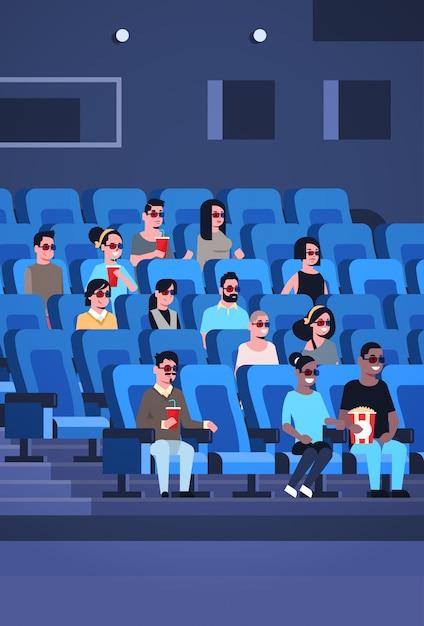 Groupe De Personnes Portant Des Lunettes 3d Regarder Un Film Assis Au Cinéma Avec Pop-corn Et Cola Mix Race Hommes Femmes S'amusant De Rire à La Nouvelle Comédie Plate Pleine Longueur Verticale Vecteur Premium