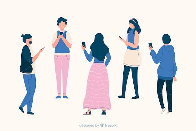Groupe de personnes regardant des smartphones ensemble Vecteur gratuit