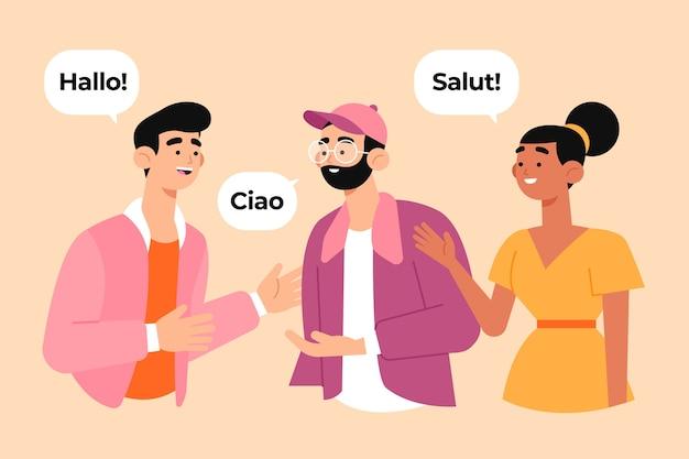 Groupe De Personnes Socialisant Dans Plusieurs Langues Vecteur gratuit