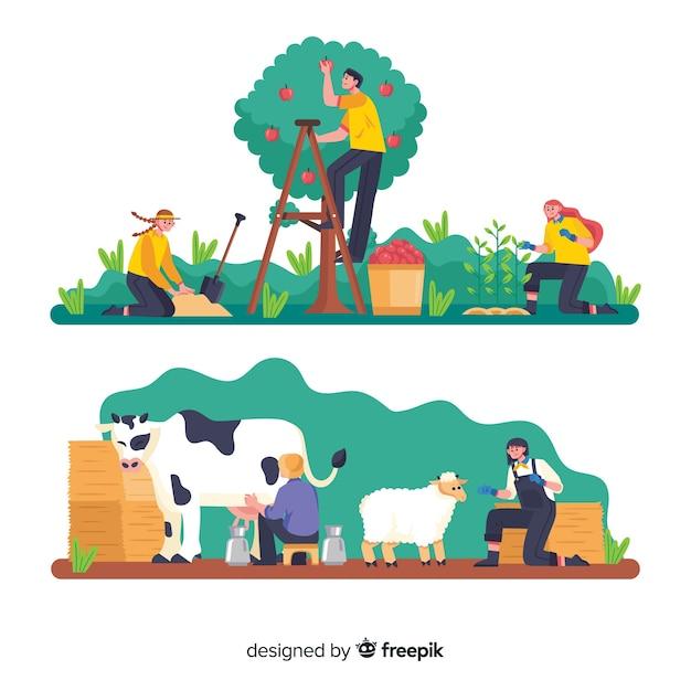 Groupe de personnes travaillant dans l'agriculture Vecteur gratuit