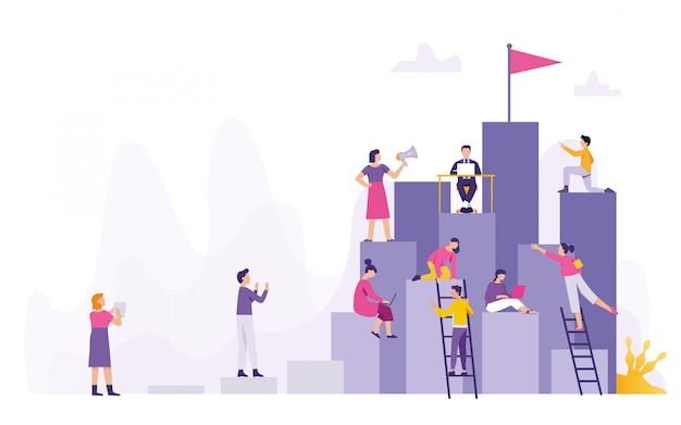 Groupe de personnes travaillant ensemble Vecteur Premium