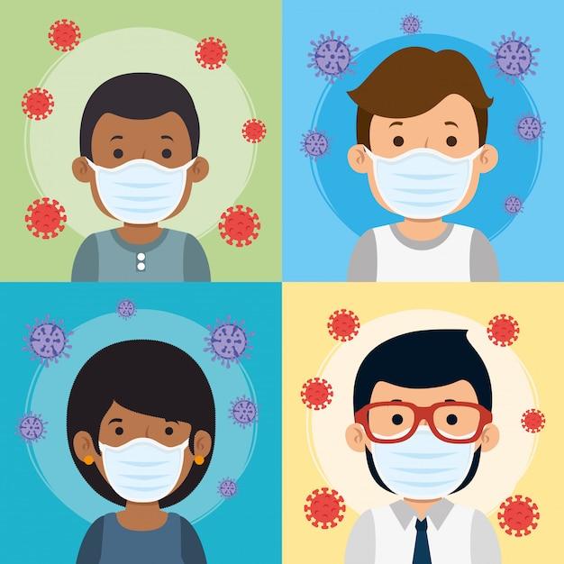 Groupe De Personnes Utilisant Un Masque Facial Pour La Pandémie De Covid19 Vecteur gratuit
