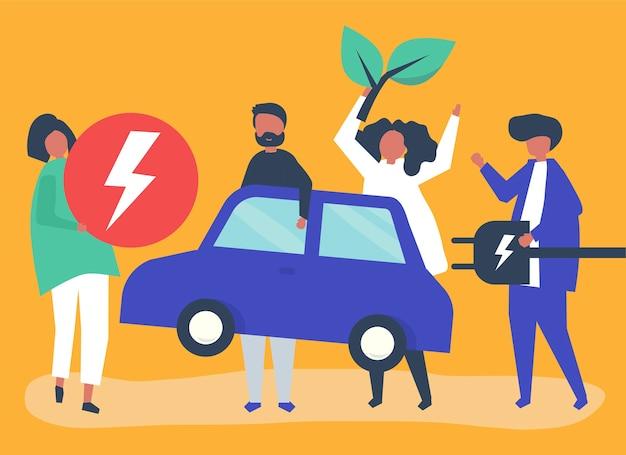 Groupe de personnes avec une voiture électrique Vecteur gratuit