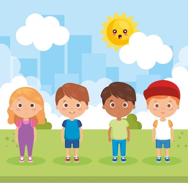 Groupe de petits enfants dans les personnages du parc Vecteur gratuit