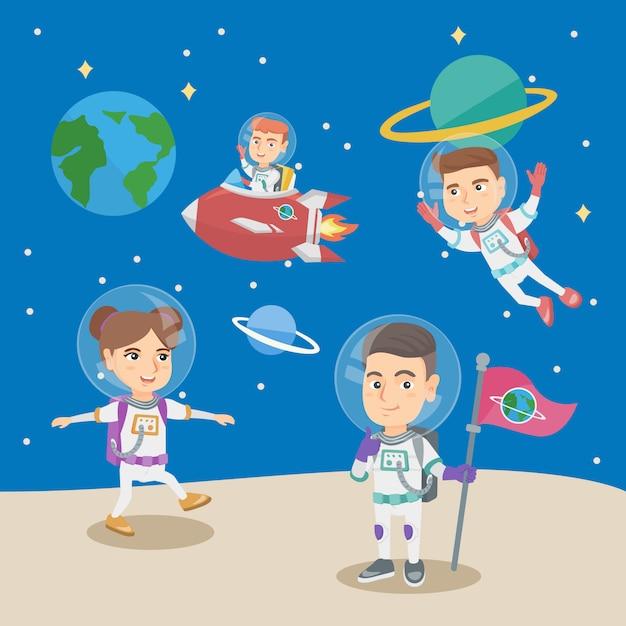Groupe de petits enfants jouant dans les astronautes Vecteur Premium