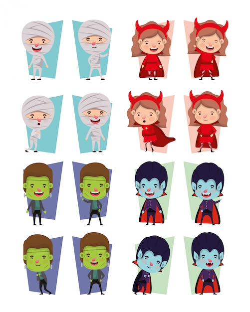 Groupe De Petits Enfants Avec Personnages De Costumes Vecteur Premium