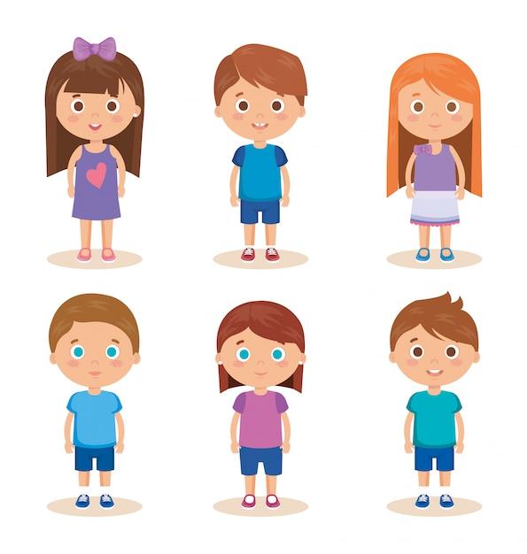 Groupe de petits personnages Vecteur gratuit