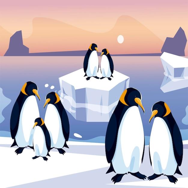 Groupe De Pingouins Dans L'illustration Panoramique De La Mer Du Pôle Nord De L'iceberg Vecteur Premium