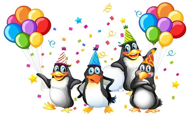 Groupe De Pingouins En Personnage De Dessin Animé De Thème De Fête Sur Blanc Vecteur gratuit