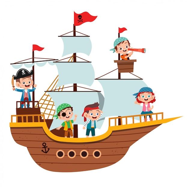 Groupe de pirates de bandes dessinées sur un navire à la mer Vecteur Premium