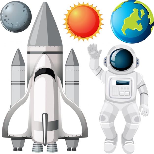 Groupe de planètes et d'objets spatiaux Vecteur gratuit