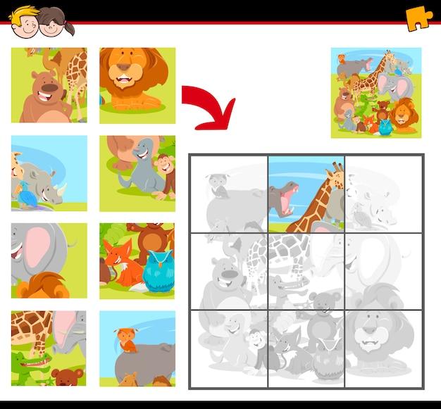 Groupe de puzzle pour enfants avec animaux Vecteur Premium