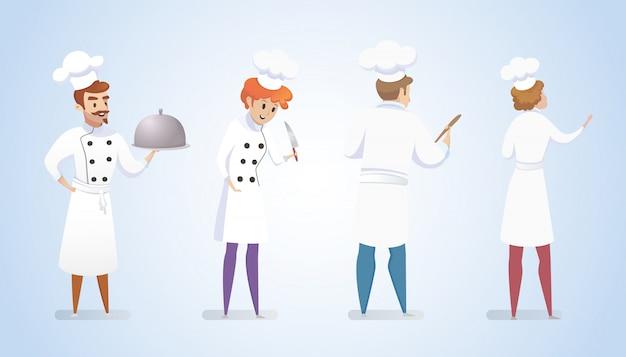 Groupe Restaurant Chefs Isolé Fond Bleu Vecteur gratuit