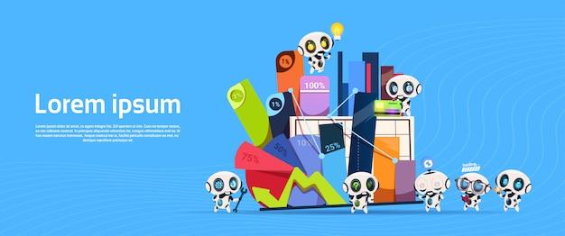 Groupe de robots avec boîte de bureau digrams et graphiques pour cent bannière avec espace de copie Vecteur Premium
