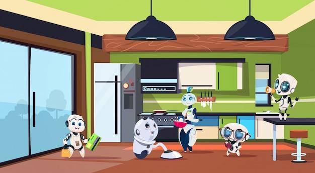 Groupe De Robots Ménagers Nettoyage Cuisine Salle Vecteur Premium