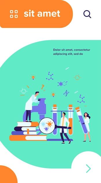 Groupe De Scientifiques Avec Microscope, Tubes Chimiques Et Livres Faisant De La Recherche En épidémiologie. Les Chimistes étudient Les Tests De Virus Corona En Laboratoire Médical Vecteur gratuit