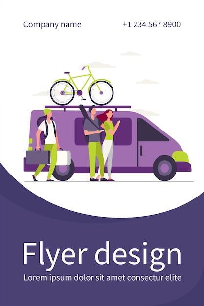 Groupe De Touristes Actifs Réunis Au Véhicule. Minivan Avec Vélo Sur Le Dessus Du Modèle De Flyer Plat Mobile Vecteur gratuit
