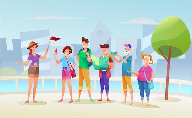 Groupe De Touristes De Dessin Animé Jeunes Et Vieux Lors D'une Excursion Avec Une Fille De Guide Touristique Avec Le Drapeau Au Fond Du Paysage Urbain. Vecteur Premium