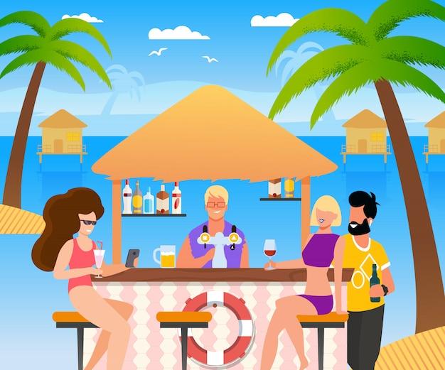 Groupe De Touristes De Dessin Animé Se Reposant Au Bar De
